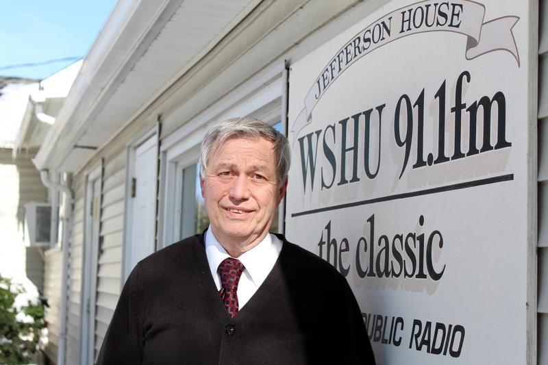 General Manager George Lombardi stands in front of the Cape Cod-style house that has been the unlikely home of NPR station WSHU for over 30 years.