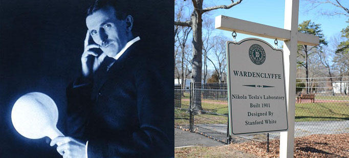 Inventor Nikola Tesla (1856-1943) and the historical marker on the grounds of what was his Shoreham, N.Y., laboratory.