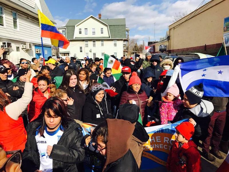 "People march in Bridgeport, Conn., on February 16, 2017, the ""Day without Immigrants,"" which was marked with protests around the country."