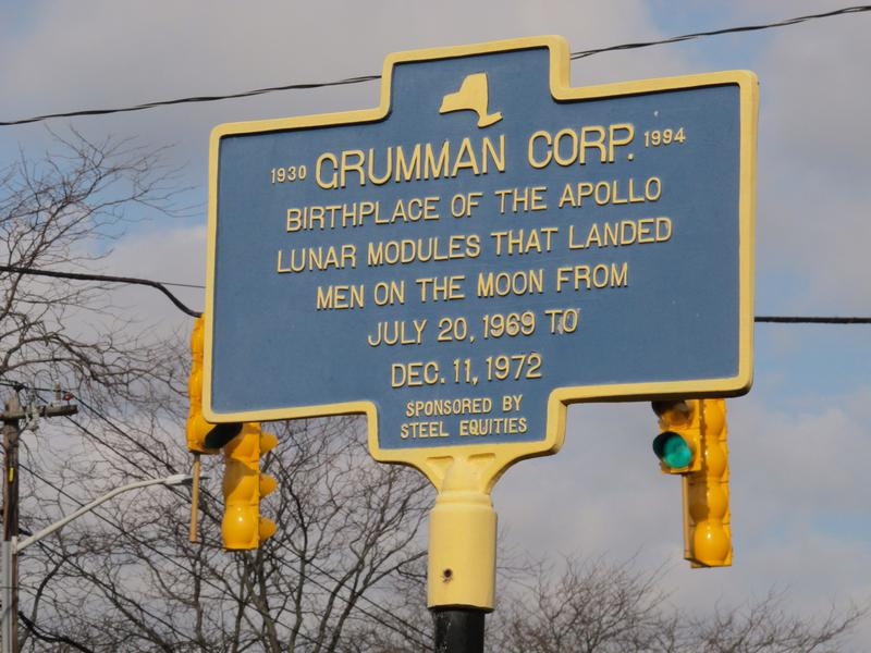 The historic highway road sign outside the former Grumman Corp. plant in Bethpage, N.Y. Officials have been working for years to clean up a plume of contaminated water emanating from the Long Island facility.