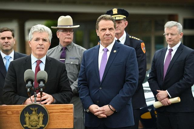 Suffolk County Executive Steve Bellone speaks alongside N.Y. Gov. Andrew Cuomo about the steps they're taking to respond to the violence being perpetrated by the street gang Mara Salvatrucha, commonly referred to as MS-13.