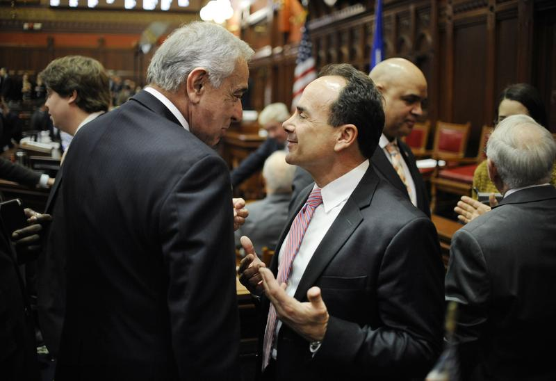 State Sen. Tony Guglielmo, R-Stafford, talks with Bridgeport Mayor Joe Ganim inside the Hall of the House at the State Capitol prior to Gov. Malloy's budget address in Hartford in 2016.