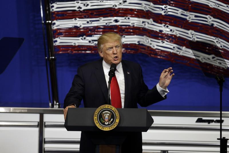 President Donald Trump speaks at Snap-On Tools on Tuesday in Kenosha, Wis.