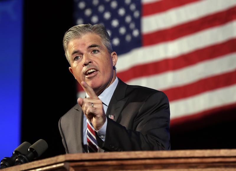 Suffolk County Executive Steve Bellone delivers his address to the opening session of the state's Democratic Convention, in Melville, N.Y., in 2014.