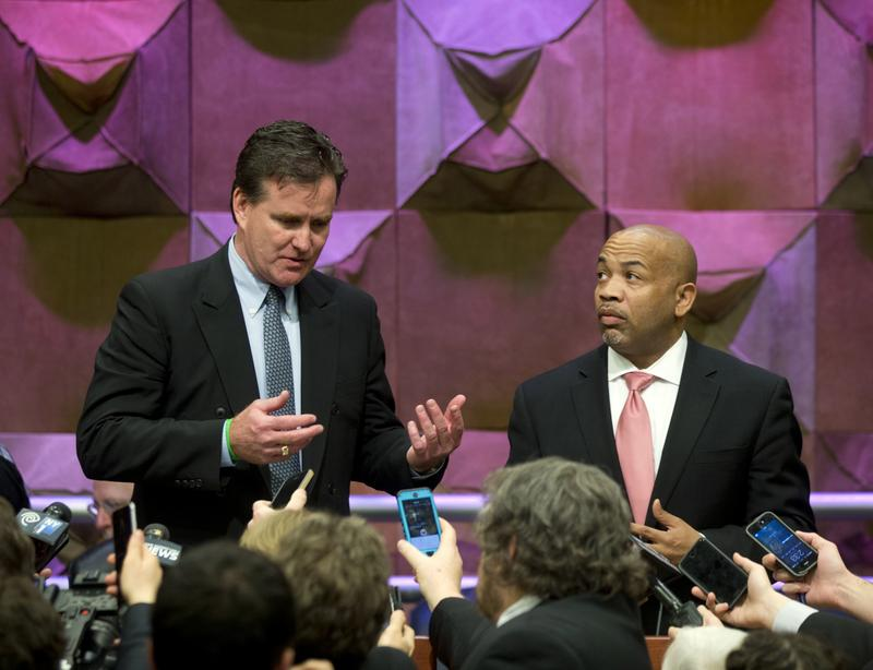 Senate Majority Leader John Flanagan, R-Smithtown, left, and Assembly Speaker Carl Heastie, D-Bronx, talk with media members after a general conference committee meeting on the budget in Albany, N.Y., in 2016.