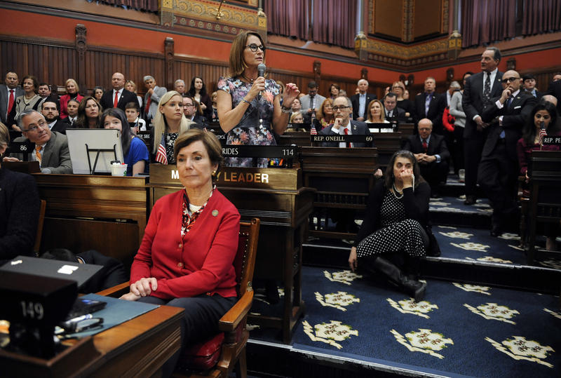 House Minority Leader Themis Klarides, R-Derby, speaks during opening session at the state Capitol in Hartford, Conn., in January.