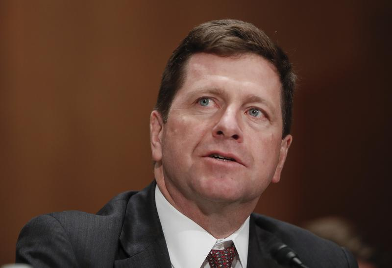 Securities and Exchange Commission Chairman nominee Jay Clayton testifies on Capitol Hill in Washington at his confirmation hearing before the Senate Banking Committee in March.
