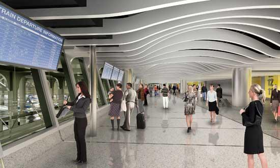 Artistic rendering of the new West End Concourse Expansion, phase one of the Moynihan Station Project.