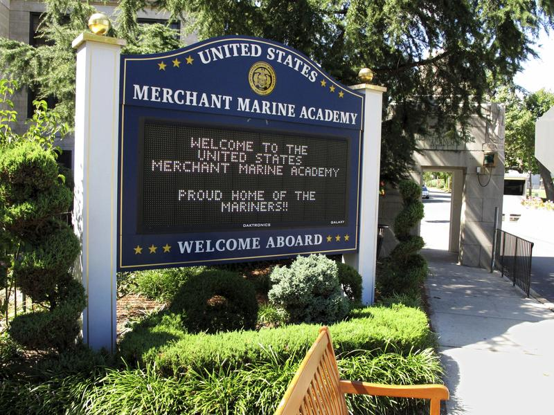 A sign at the entrance to the U.S. Merchant Marine Academy in Kings Point, N.Y., welcomes visitors.