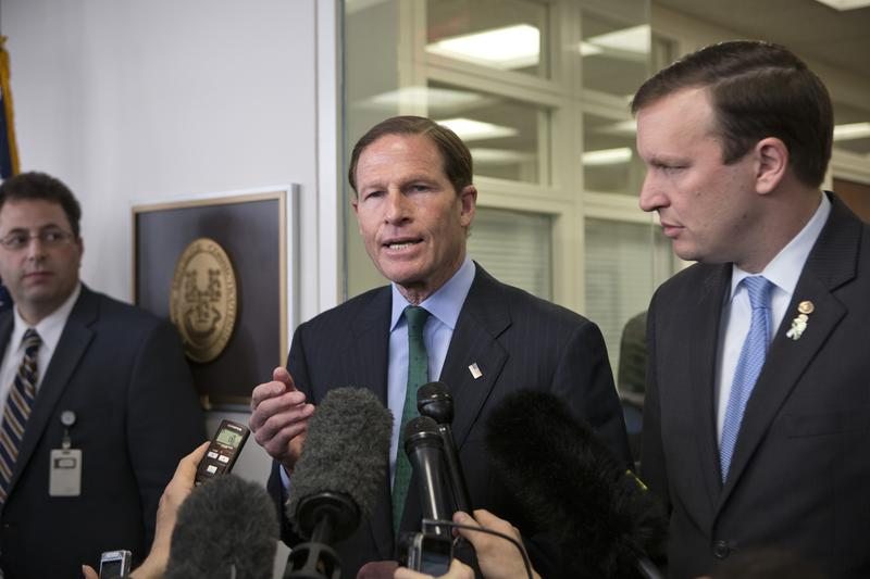 Sen. Richard Blumenthal, D-Conn., left, and Sen. Chris Murphy, D-Conn., right, speaking to reporters.