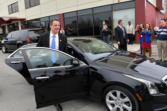 Governor Cuomo arrives at an event in the first Uber ride in upstate New York.