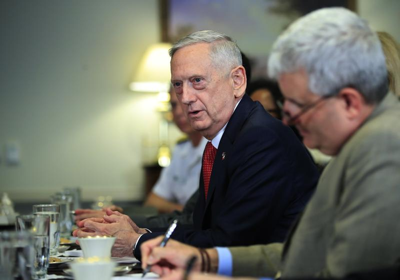Defense Secretary Jim Mattis speaks during his meeting with Italy's Defense Minister Roberta Pinotti in July at the Pentagon.