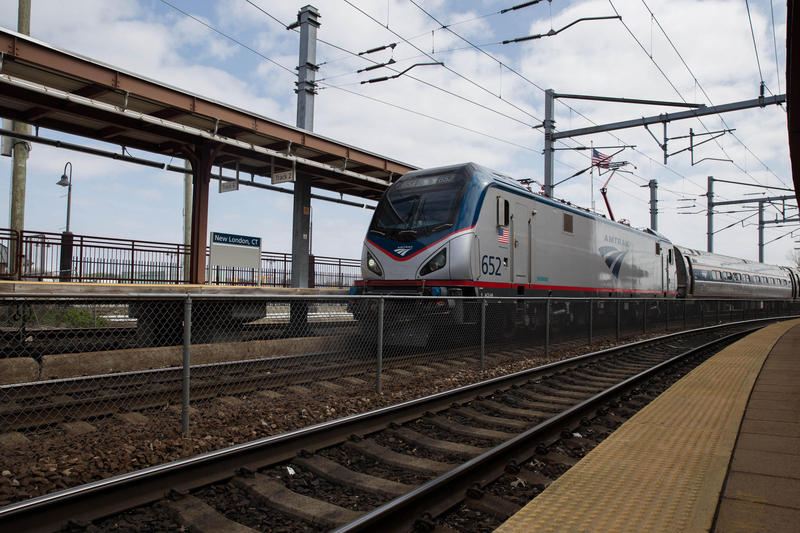 An Amtrak train at Union Station in New London, Connecticut, in May 2017. City business leaders said a federal proposal to bypass the station could be bad for the city's economy.