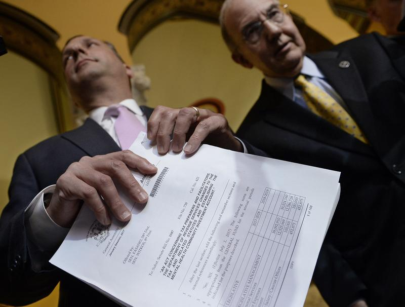 State Sen. Majority Leader Bob Duff, D-Norwalk, left, hold a GOP budget with State Democratic President Pro Tempore Martin M. Looney D-New Haven, on the final day of session at the State Capitol in June in Hartford, Conn.