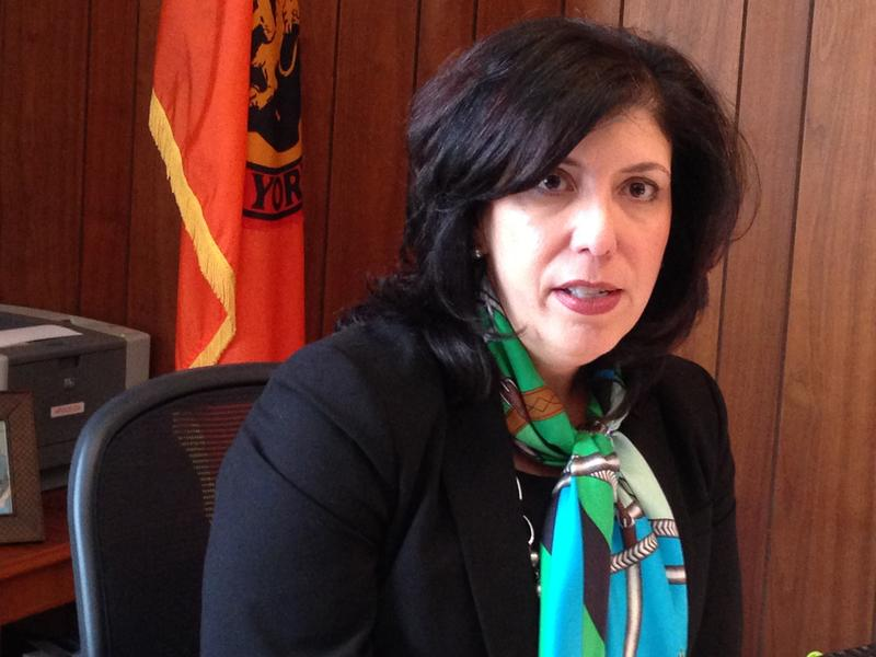 Nassau County District Attorney Madeline Singas speaks to reporters at her office in Mineola, N.Y., in 2016.