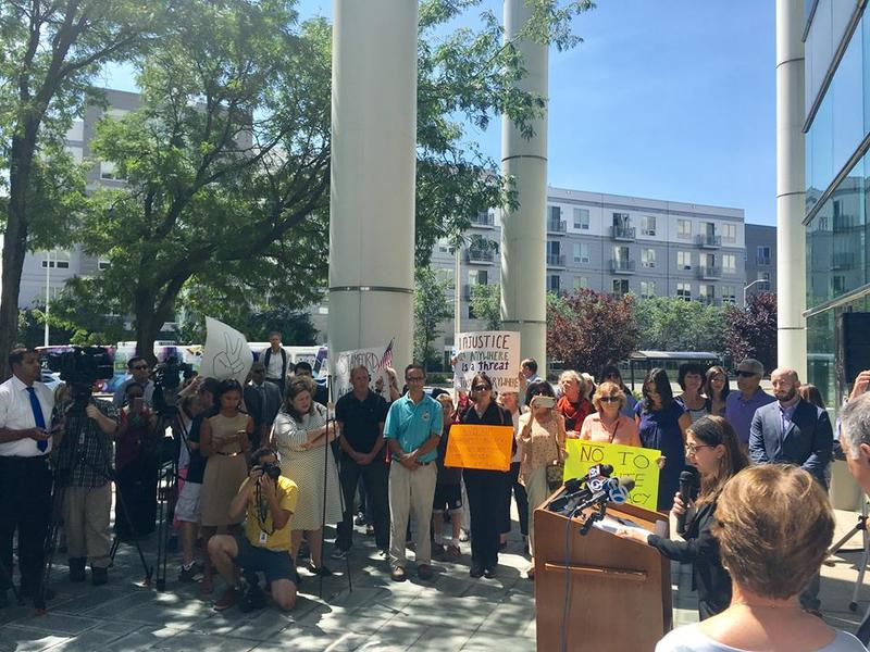 Lawmakers, supporters and members of the press listen to a speech at a rally held in Stamford on Wednesday to condemn the bigotry and violence that occurred at a Unite the Right rally in Charlottesville, Va., over the weekend.