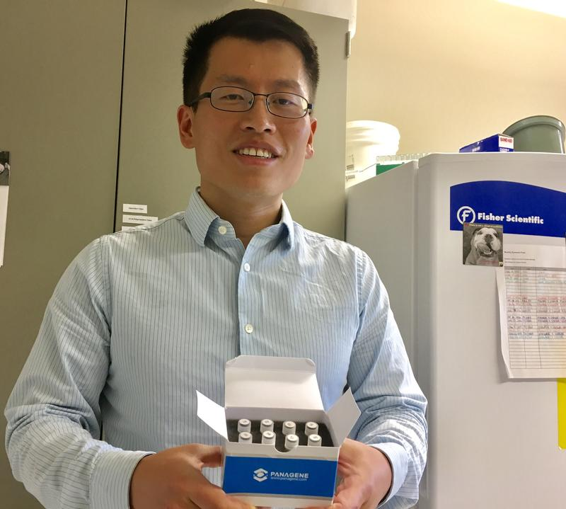 Quan Zeng, Assistant Plant Pathologist and Bacteriologist at the Connecticut Agricultural Experiment Station, shows small samples of the new fire blight control method.
