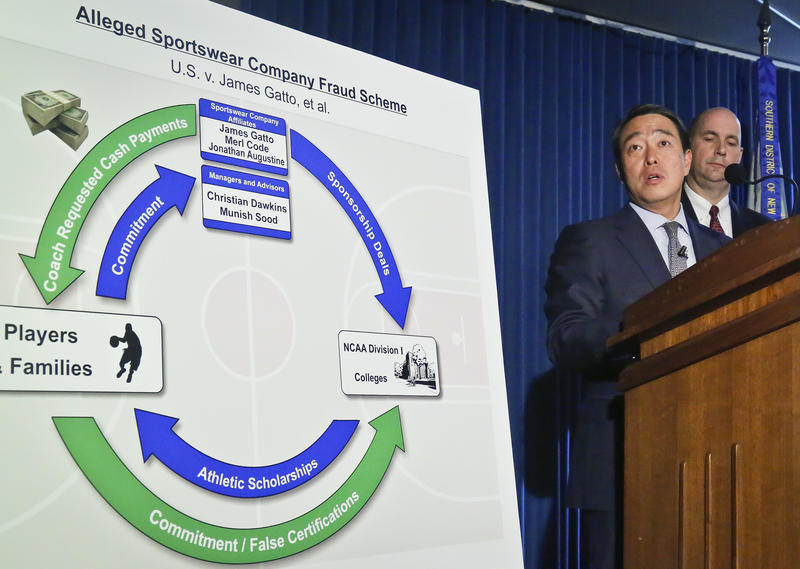 Acting U.S. Attorney for the Southern District of New York Joon H. Kim, left, and FBI Assistant Director William Sweeney, Jr. announce the arrest of four assistant college basketball coaches on federal corruption charges on Tuesday.