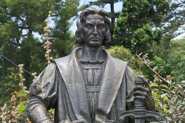 A statue of Christopher Columbus in Funchal, Portugal, where the explorer lived at various times in his life.