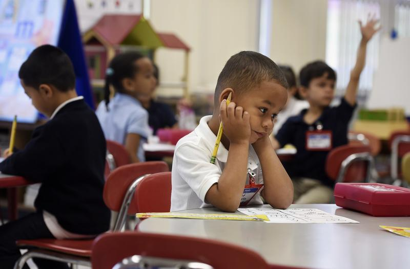 Elionet Saez Martin of Puerto Rico in his kindergarten class at Chamberlain Elementary in New Britain, Conn. As Hurricane Maria approached Puerto Rico, his mother put him and his 9-year-old brother on a plane to be with their grandfather in Connecticut.