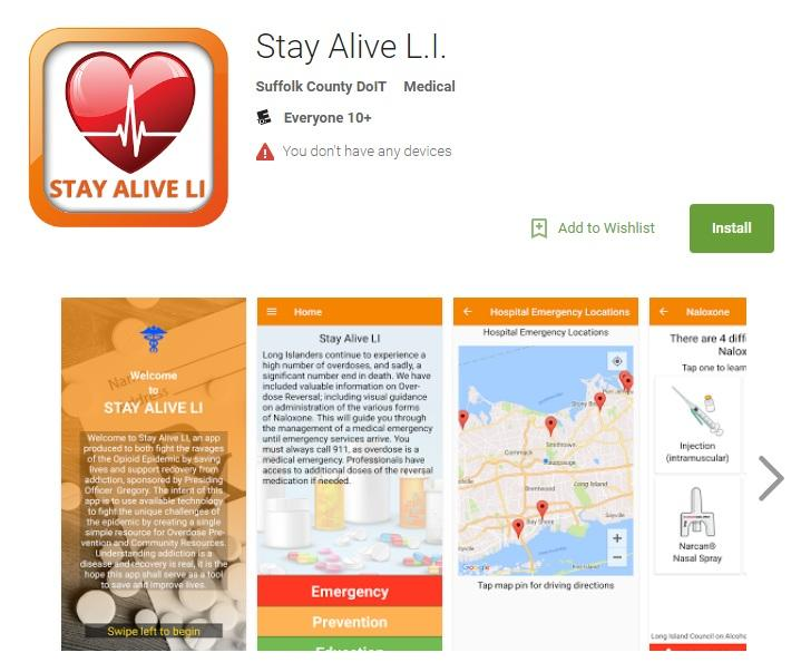 Screenshot of the Stay Alive L.I. app from the Google Play App Shop