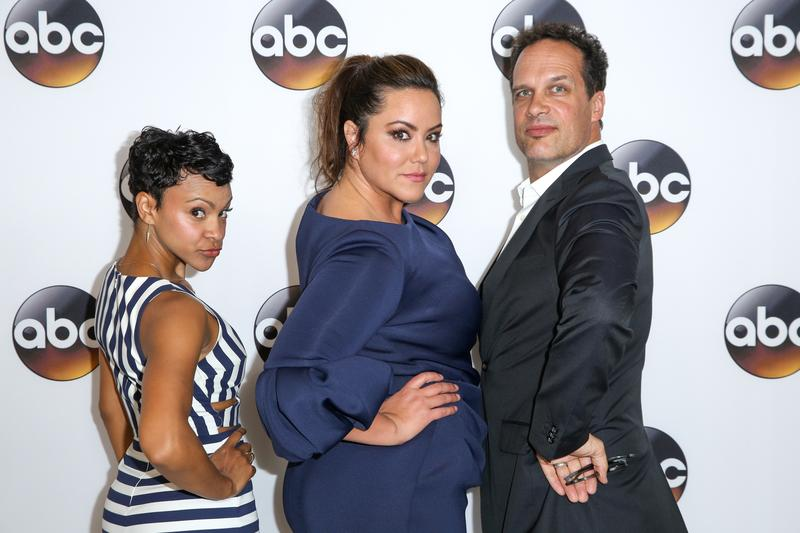 "Carly Hughes, from left, Katy Mixon and Diedrich Bader, cast members in the television series ""American Housewife,"" arrive at the Disney/ABC Television Critics Association summer press tour in Beverly Hills, Calif., in 2016."