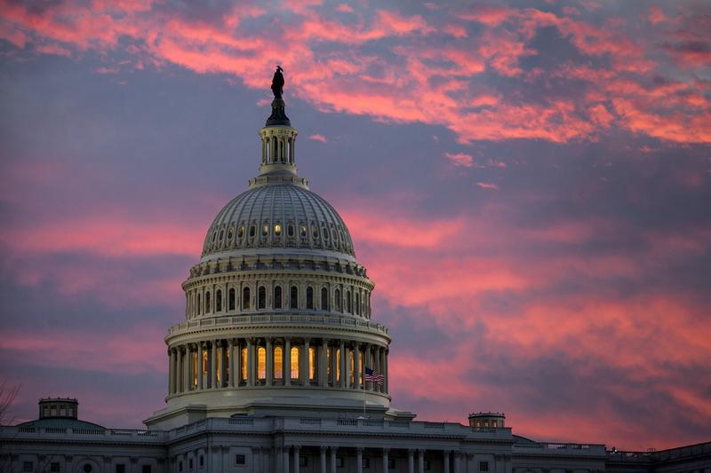 The U.S. Capitol is seen at dawn as Senate Republicans work to pass their sweeping tax bill this week in Washington on Thursday.