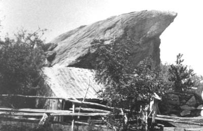 An historical photo of Indian Rock on Sam's Path in Rocky Point, Long Island.