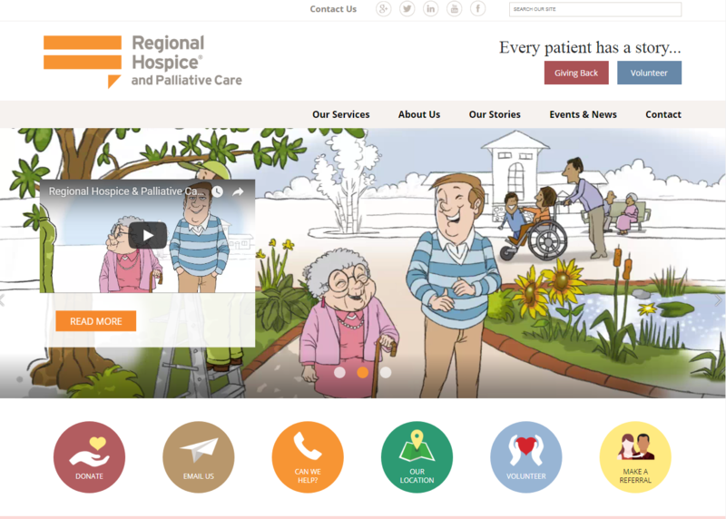 Screenshot of the Regional Hospice and Palliative Care website, showing one of the center's new