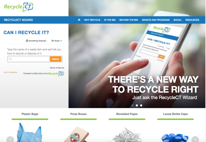 Screenshot of the new RecycleCT website