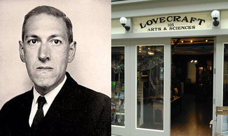 A portrait photograph of H.P. Lovecraft taken in June 1934, and the exterior of the Lovecraft Arts & Sciences shop in Providence, R.I.
