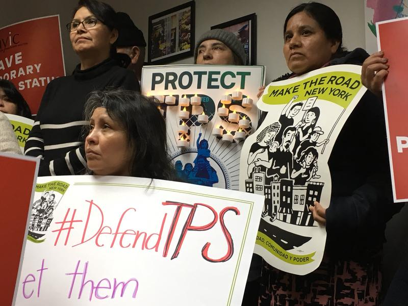 Members of Make the Road New York and its supporters denounce the Trump administration's decision to end Temporary Protected Status for Salvadorans, at a press conference at the New York Immigration Coalition's headquarters in Manhattan on Monday.