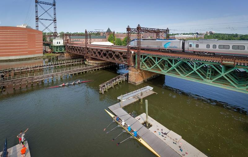The railroad bridge that crosses the Norwalk River in Norwalk, Conn.