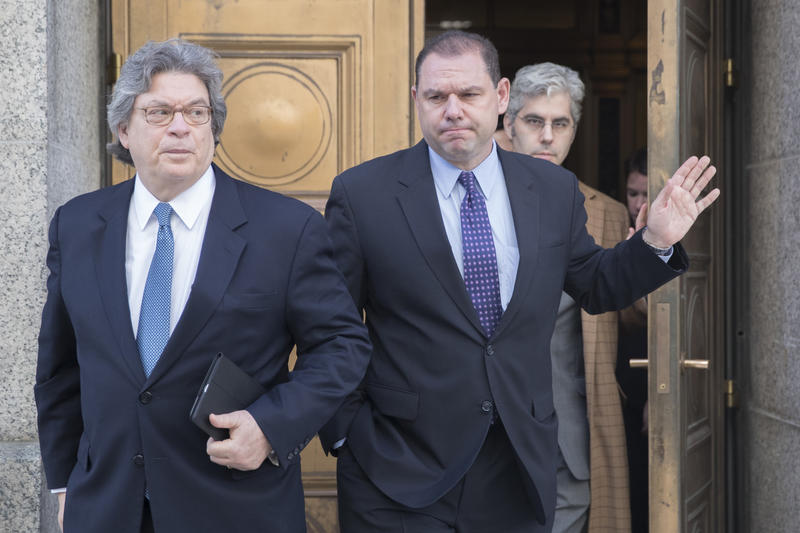 Joseph Percoco, center, leaves federal court with his attorneys Barry Bohrer, left, and Michael Yaeger in New York.