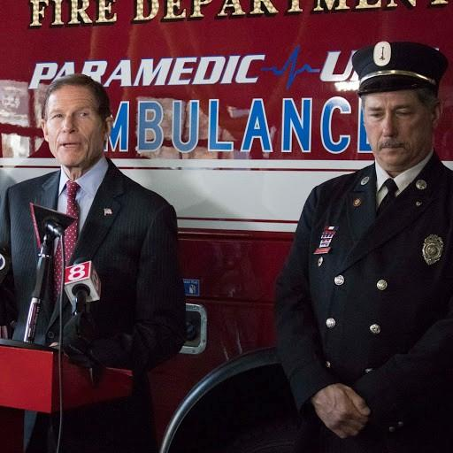 U.S. Senator Richard Blumenthal, D-Conn., speaking at a West Haven Fire Department station on Wednesday. Blumenthal was there to speak out against the Trump administration's proposal to restructure the World Trade Center Health Program.