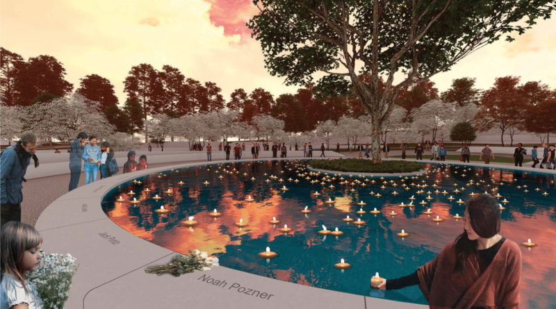 The following images are selections from the finalists' designs. Above is a rendering of the Candlelight Memorial at the Sacred Sycamore.