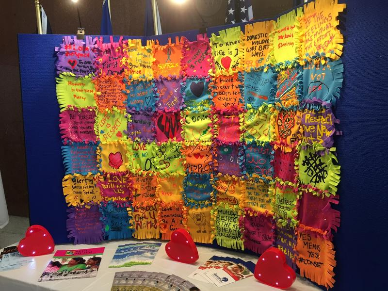 A quilt made by students involved in the L.I. Against Domestic Violence program.