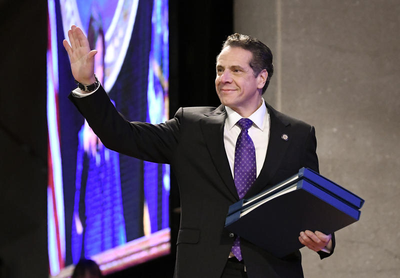 New York Gov. Andrew Cuomo waves before delivering his state of the state address at the Empire State Plaza Convention Center in Albany, N.Y., in January.