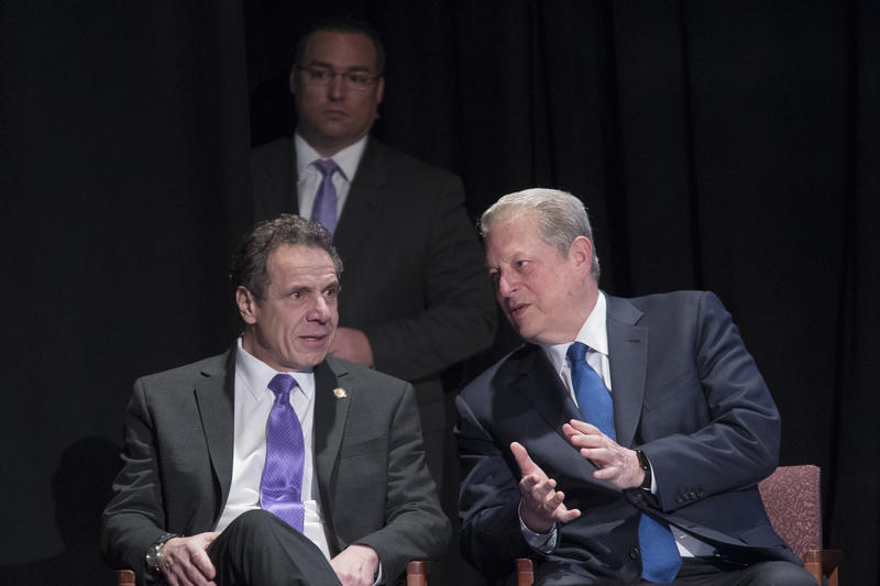 Former Vice President Al Gore joins New York Gov. Andrew Cuomo during an event on Friday in New York. Gore and Cuomo are speaking out against the Trump administration's plans to open up new areas to offshore drilling.