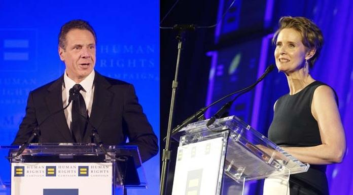 New York Governor Andrew Cuomo addresses the 2018 Human Rights Campaign Greater New York Gala in February in New York. That same evening, actress and activist Cynthia Nixon was honored with the HRC Visibility Award.