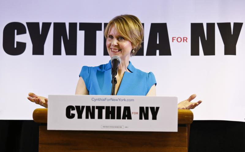 New York candidate for governor Cynthia Nixon speaks during her first campaign stop at the Bethesda Healing Center Church Tuesday in Brooklyn. Nixon will challenge New York Gov. Andrew Cuomo for the Democratic nomination.