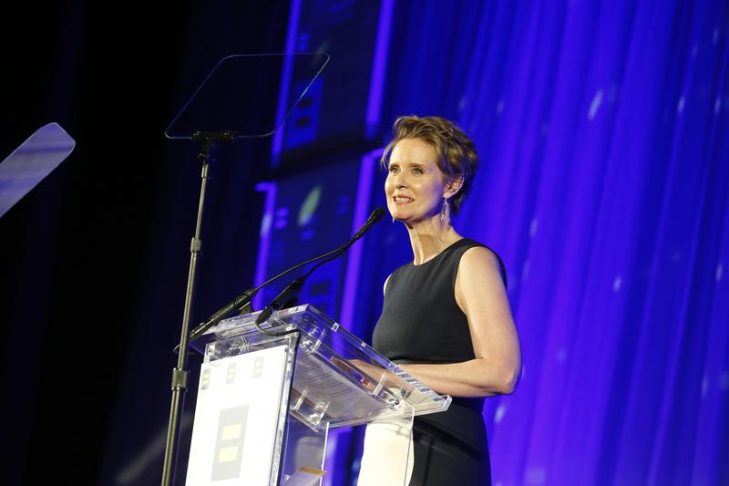 The Human Rights Campaign honors Cynthia Nixon with the HRC Visibility Award at the 2018 HRC Greater New York Gala in New York in February.