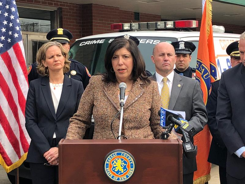 Nassau County District Attorney Madeline Singas announces the ODMAP at a press conference on Thursday.