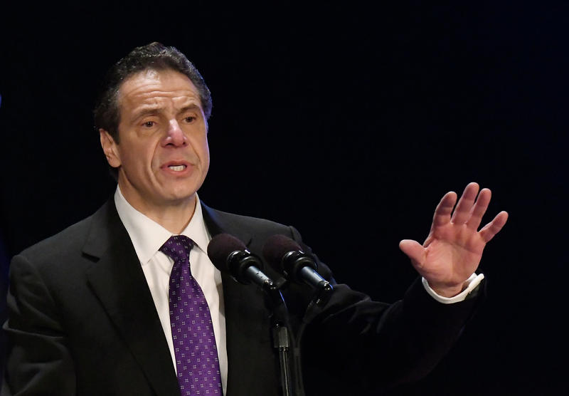FILE - In this Wednesday, Jan. 3, 2018, file photo, New York Gov. Andrew Cuomo delivers his state of the state address at the Empire State Plaza Convention Center in Albany, N.Y. On Friday, April 13, 2018, Cuomo announced that he will not seek the ballot