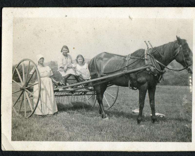 Russian-Jewish immigrants Anna, Etta and Rose Marcus haying with their horse in Litchfield County in the early 20th century.