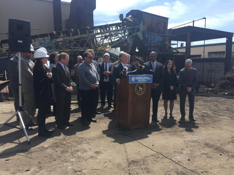 County officials announce the sale of the abandoned Hubbard Power and Lighting plant at a press conference in Bay Shore on Tuesday.
