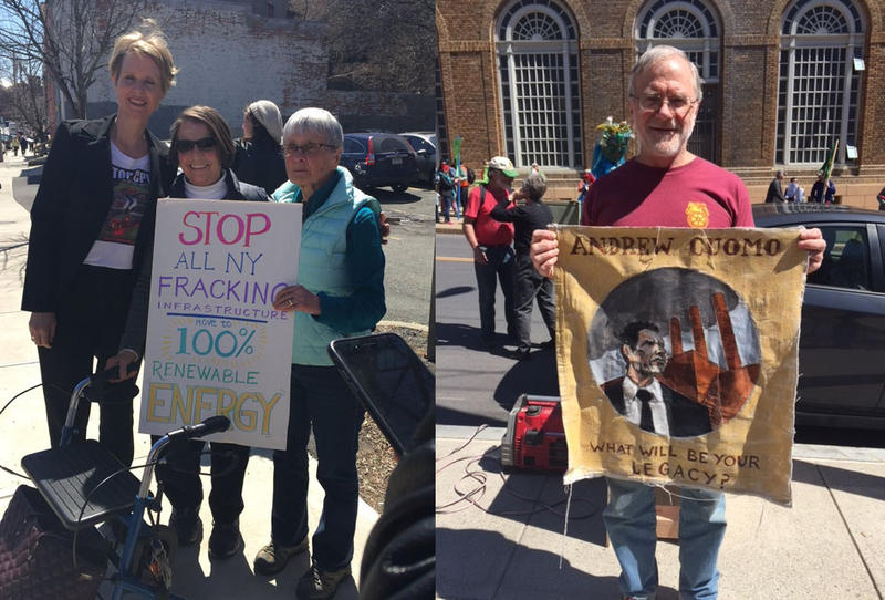 Candidate for governor Cynthia Nixon poses with supporters at an Earth Day rally against Governor Cuomo's energy policies outside the state Capitol on Sunday. Green Party candidate Howie Hawkins was also in attendance.