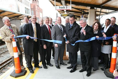 Governor Malloy officially cuts the ribbon at Meriden Station on Thursday.