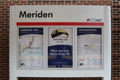 Information on Hartford Line service is posted at the new station.