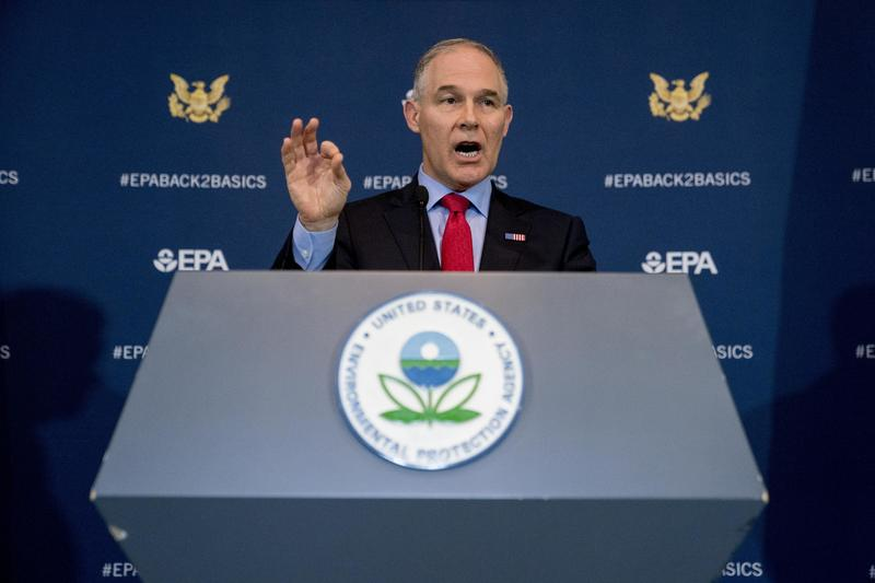 Environmental Protection Agency Administrator Scott Pruitt speaks at a news conference at the Environmental Protection Agency in Washington on Tuesday.
